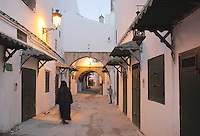 A narrow street with closed shops in the medina or old town of Tetouan, on the slopes of Jbel Dersa in the Rif Mountains of Northern Morocco. Tetouan was of particular importance in the Islamic period from the 8th century, when it served as the main point of contact between Morocco and Andalusia. After the Reconquest, the town was rebuilt by Andalusian refugees who had been expelled by the Spanish. The medina of Tetouan dates to the 16th century and was declared a UNESCO World Heritage Site in 1997. Picture by Manuel Cohen