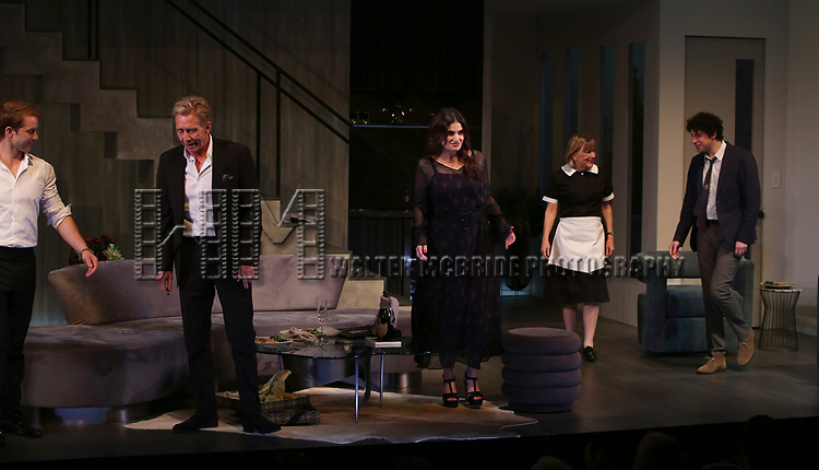 Will Brittain, Jack Wetherall, Idina Menzel, Cynthia Mace and Eli Gelb during the Off-Broadway Opening Night Curtain Call Bows for the Roundabout Theatre Production of 'Skintight at the Laura Pels Theatre on June 21, 2018 in New York City.