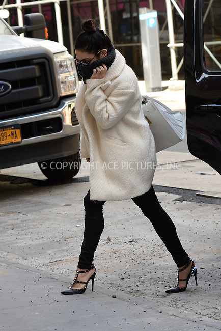 WWW.ACEPIXS.COM<br /> March 19, 2015 New York City<br /> <br /> Vanessa Hudgens arrives to a performance of Gigi on Broadway at the Neil Simon Theatre on March 19, 2015 in New York City. <br /> <br /> By Line: Kristin Callahan/ACE Pictures<br /> ACE Pictures, Inc.<br /> tel: 646 769 0430<br /> Email: info@acepixs.com<br /> www.acepixs.com