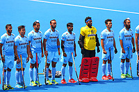 India's players line up for the national anthem during the Hockey World League Semi-Final match between Pakistan and India at the Olympic Park, London, England on 18 June 2017. Photo by Steve McCarthy.