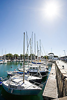 Yachts in the The Old Harbor, overlooking the court of women, the Big Clock and the dock of Duperré, La Rochelle Charente-Maritime France