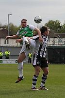 Lewis Stevenson (left) and Paul McGowan challenge in the St Mirren v Hibernian Clydesdale Bank Scottish Premier League match played at St Mirren Park, Paisley on 29.4.12.
