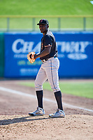 Fresno Grizzlies starting pitcher Akeem Bostick (27) warms up in the bullpen before a game against the Salt Lake Bees at Smith's Ballpark on September 3, 2018 in Salt Lake City, Utah. The Grizzlies defeated the Bees 7-6. (Stephen Smith/Four Seam Images)