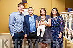 Baby Cillian Galvin with his parents Jerard & Amy Galvin, Listowel & California and god parents Jimmy Galvin & Elizabeth Stack who was christened in St. Mary's Church, Listowel by Canon Declan O'Connor on Saturday last and afterwards at the Listowel Arms Hotel.
