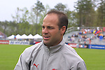 Courage coach Jay Entlich at SAS Stadium in Cary, North Carolina on 4/5/03 before a game between the Carolina Courage and Washington Freedom. The Washington Freedom won the game 2-1.