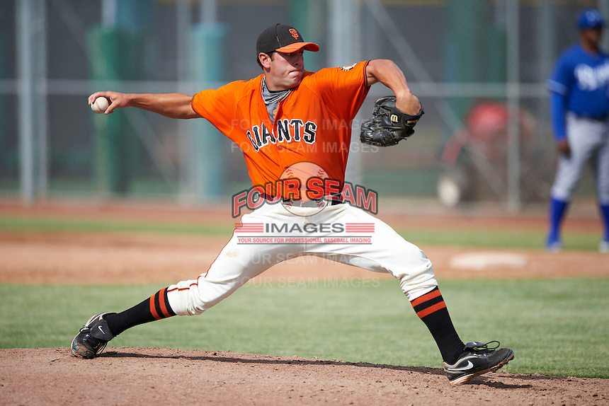 San Francisco Giants minor league pitcher Brandon Farley #39 during an instructional league game against the Kansas City Royals at the Giants Baseball Complex on October 18, 2012 in Scottsdale, Arizona. (Mike Janes/Four Seam Images)