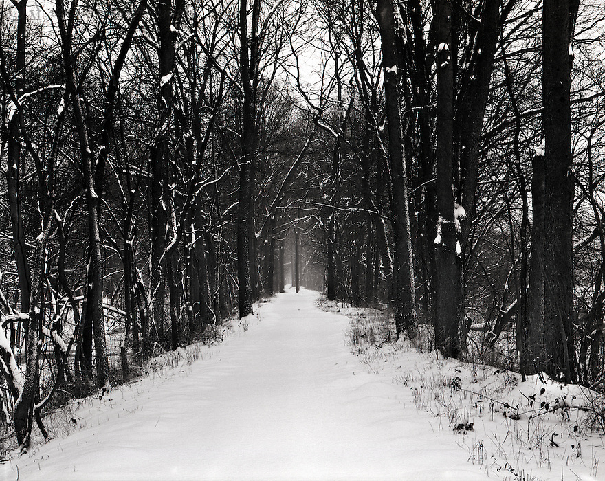 New fallen snow adds to a tranquil hike on the VanScoy Towpath Trail heading out towards Sunset Point, in Delphi Indiana.  On the left is the historic Wabash & Erie Canal and on the right, the Wabash River.