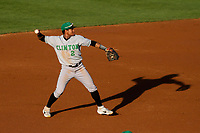 Clinton LumberKings shortstop Christopher Torres (2) makes a throw to first base during a Midwest League game against the Wisconsin Timber Rattlers on June 20, 2019 at Fox Cities Stadium in Appleton, Wisconsin. Wisconsin defeated Clinton 5-2. (Brad Krause/Four Seam Images)
