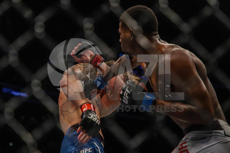 BOSTON, EUA, 18.10.2019 - UFC-BOSTON - Lutadores Brendan Allen (vermelho) e Kevin Holland (azul) durante UFC Fight Night no Td Garden em Boston no Estado de Massachusetts nos Estados Unidos na noite desta sexta-feira, 18. (Foto: Vanessa Carvalho/Brazil Photo Press)