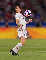 LYON,  - JULY 2: Jade Moore #16 controls the ball during a game between England and USWNT at Stade de Lyon on July 2, 2019 in Lyon, France.