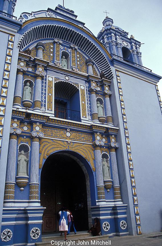 Baroque-style facade of the restored Templo de Santo Domingo in Ocotlan, Oaxaca, Mexico