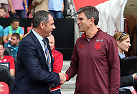 (L-R) Swansea manager Paul Clement greets Southampton manager Mauricio Pellegrino during the Premier League match between Southampton and Swansea City at the St Mary's Stadium, Southampton, England, UK. Saturday 12 August 2017
