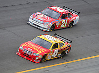 Feb 13, 2008; Daytona Beach, FL, USA; Nascar Sprint Cup Series drivers Kyle Petty (45) and Bill Elliott (21) during practice for the Daytona 500 at Daytona International Speedway. Mandatory Credit: Mark J. Rebilas-US PRESSWIRE