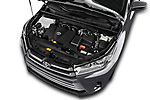 Car Stock 2017 Toyota Highlander LE-Plus 5 Door SUV Engine  high angle detail view