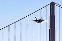 Blue Angels 5, the lead solo, approaches the airshow box from out of the west and over the Golden Gate Bridge