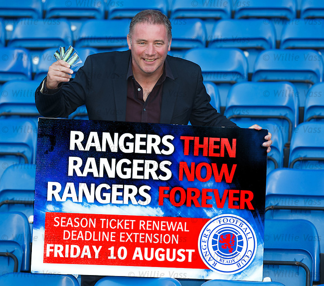 Ally McCoist tells fans to buy season tickets for Rangers and he has bought four for himself.