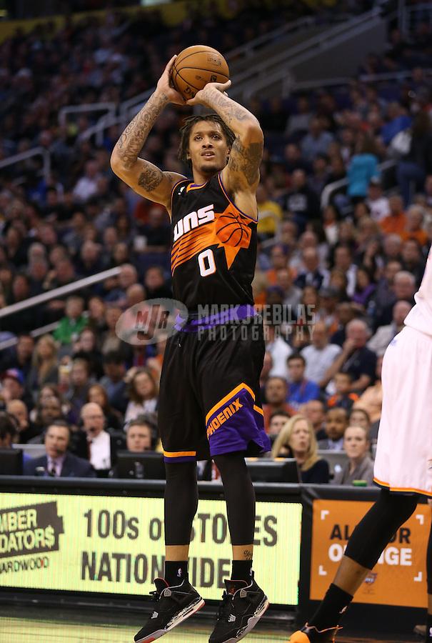 Feb. 10, 2013; Phoenix, AZ, USA: Phoenix Suns small forward Michael Beasley against the Oklahoma City Thunder at the US Airways Center. Mandatory Credit: Mark J. Rebilas-