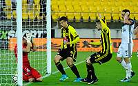 The Phoenix score during the A-League football match between Wellington Phoenix and Melbourne Victory at Westpac Stadium in Wellington, New Zealand on Friday, 10 January 2018. Photo: Dave Lintott / lintottphoto.co.nz