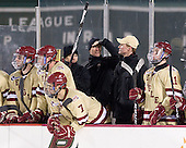 Patrick Wey (BC - 6), Brian Dumoulin (BC - 2), Isaac MacLeod (BC - 7), John Hegarty (BC - Dir-Hockey Ops), Bert Lenz (BC - Trainer), Greg Brown (BC - Assistant Coach), Pat Mullane (BC - 11) - The Boston College Eagles defeated the Northeastern University Huskies 2-1 on Saturday, January 14, 2012, at Fenway Park in Boston, Massachusetts.