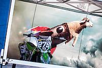 Kawasaki motorbike in Vichy Catalan box in pit line at Spanish Motocross Championship at Albaida circuit (Spain), 22-23 February 2014