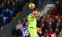 Emre Can wins a header from Joe Ledley during the EPL - Premier League match between Crystal Palace and Liverpool at Selhurst Park, London, England on 29 October 2016. Photo by Steve McCarthy.