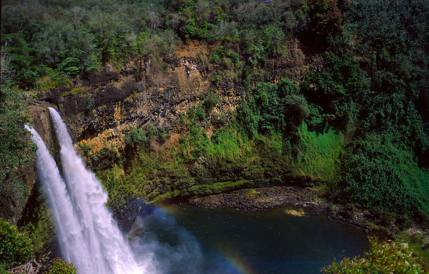 Wailua Falls and Rainbow, Kauai, Hawaii, US