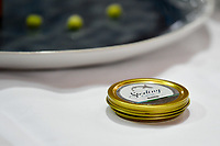 Melbourne, 30 May 2017 - A tin of caviar in the kitchen of Andrew Ballard of the Simmer Culinary in Mornington at the Australian selection trials of the Bocuse d'Or culinary competition held during the Food Service Australia show at the Royal Exhibition Building in Melbourne, Australia. Photo Sydney Low