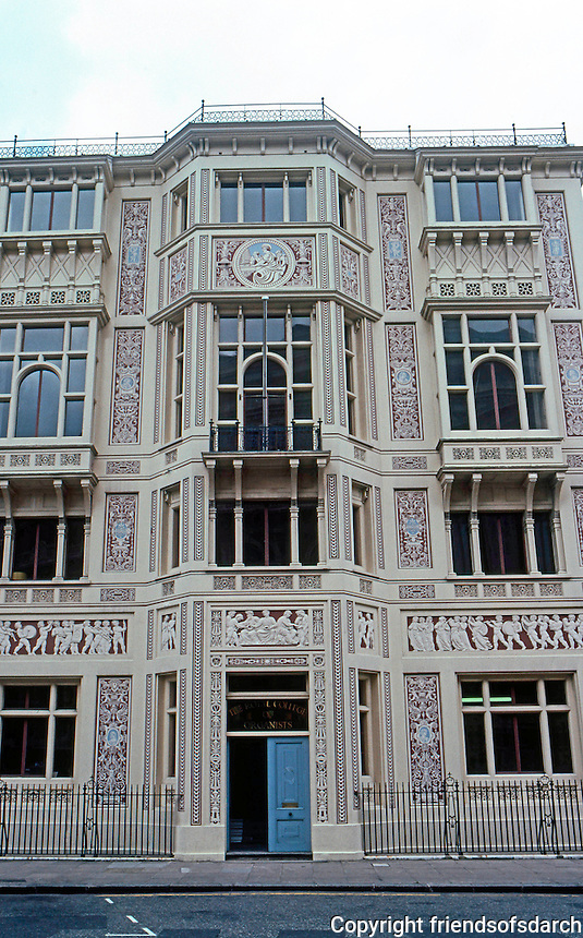 London: Royal College of Organists on Kensington Gore--Facade, 1883.  Photo '79.
