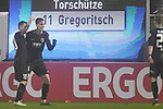 06.02.2019,  GER; DFB Pokal, Holstein Kiel vs FC Augsburg ,DFL REGULATIONS PROHIBIT ANY USE OF PHOTOGRAPHS AS IMAGE SEQUENCES AND/OR QUASI-VIDEO, im Bild Michael Gregoritsch  (Augsburg #11) schiesst das 1-0 fuer Augsburg und jubelt mit der Mannschaft  Foto © nordphoto / Witke