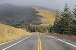 Wet highway after a snowstorm in the Vail Valley, Colorado, USA. John offers autumn photo tours throughout Colorado.