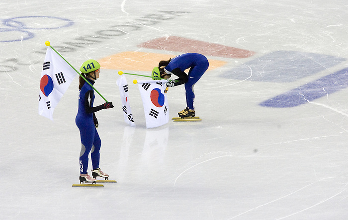 February 24 2010:  Two members of the Korean Woman's Short Track Relay Team react to learning of their disqualification, losing them the gold medat. Pacific Coliseum, Vancouver 2010  Olympics