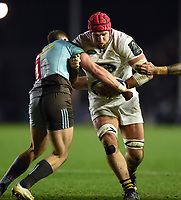 James Haskell of Wasps takes on the Harlequins defence. European Rugby Champions Cup match, between Harlequins and Wasps on January 13, 2018 at the Twickenham Stoop in London, England. Photo by: Patrick Khachfe / JMP