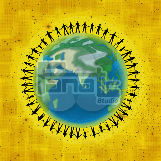 Illustrative image of people on globe representing unity