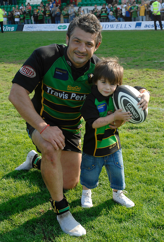 Photo: Richard Lane..Northampton Saints v London Irish. Guinness Premiership. 28/04/2007. .Saints' Christian Labit with his son, aged 3 years, after the game.