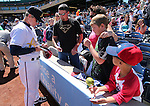 Reno Aces Manager Brett Butler signs autographs before a game against the Sacramento River Cats in Reno, Nev., on Sunday, April 14, 2013. The River Cats won 22-6..Photo by Cathleen Allison