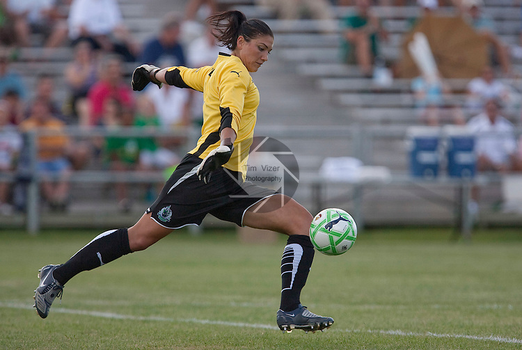 July 26 2009         Athletica goalkeeper Hope Solo takes a goal kick early in the first half.  The game ended in a 1-1 tie.    The St. Louis Athletica hosted the FC Gold Pride on Sunday July 26, 2009 at the Anheuser Busch Soccer Park in Fenton, Missouri.   ..            *******EDITORIAL USE ONLY*******