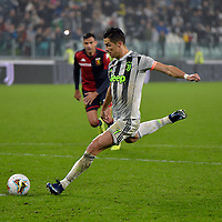 30th October 2019; Allianz Stadium, Turin, Italy; Serie A Football, Juventus versus Genoa; Cristiano Ronaldo of Juventus scores the winning goal in the 95th minute from a penalty kick - Editorial Use