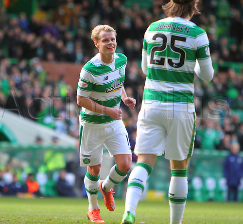 06.03.2016. Celtic Park, Glasgow, Scotland. Scottish Cup. Celtic versus Morton. Gary Mackay-Steven celebrates his goal