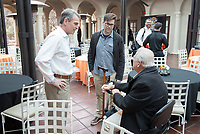 From left, Jeffrey B. Goldstein '86, VP for Institutional Advancement Charlie Cardillo and Larry Layne '71.<br /> Occidental College alumni, staff and other members of the Oxy community gather in support of the football program, March 10, 2018 on Branca Patio.<br /> In January 2018 a 16-member task force of trustees, faculty, students, staff and alumni met to determine the fate of the football program in the wake of the premature end of the 2017 season. The College is moving full speed ahead with preparations for the 2018 season, led by the Football Action Team.<br /> (Photo by Marc Campos, Occidental College Photographer)