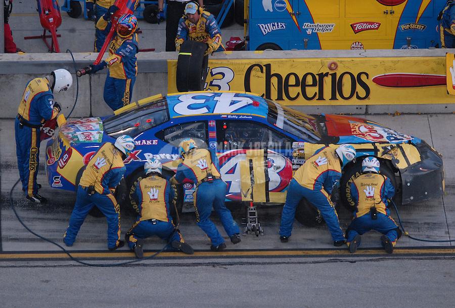 Nov. 19, 2006; Homestead, FL, USA; Nascar Nextel Cup driver Bobby Labonte (43) pits during the Ford 400 at Homestead Miami Speedway. Mandatory Credit: Mark J. Rebilas