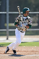 Slippery Rock outfielder Alente Johnson (1) during a game against Upper Iowa University at Frank Tack Field on March 14, 2014 in Clearwater, Florida.  Slippery Rock defeated Upper Iowa 14-9.  (Mike Janes/Four Seam Images)