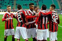 MILAO, ITALIA, 06 JANEIRO 2013 - CAMP. ITALIANO - MILAN X SIENA -  Jogadores do Milan comemora gol em partida contra o Siena pela 19 Rodada do Campeonato Italiano, neste domingo, 06. (FOTO: PIXATHLON / BRAZIL PHOTO PRESS).