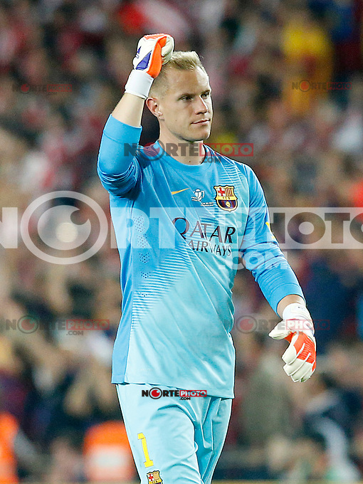 FC Barcelona's Marc-Andre Ter Stegen celebrates goal during Spanish King's Cup Final match. May 30,2015. (ALTERPHOTOS/Acero)
