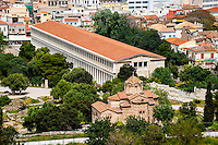 Athens, Greece. View from Areopagus below the Acropolis.  With the Stoa of Attalos.