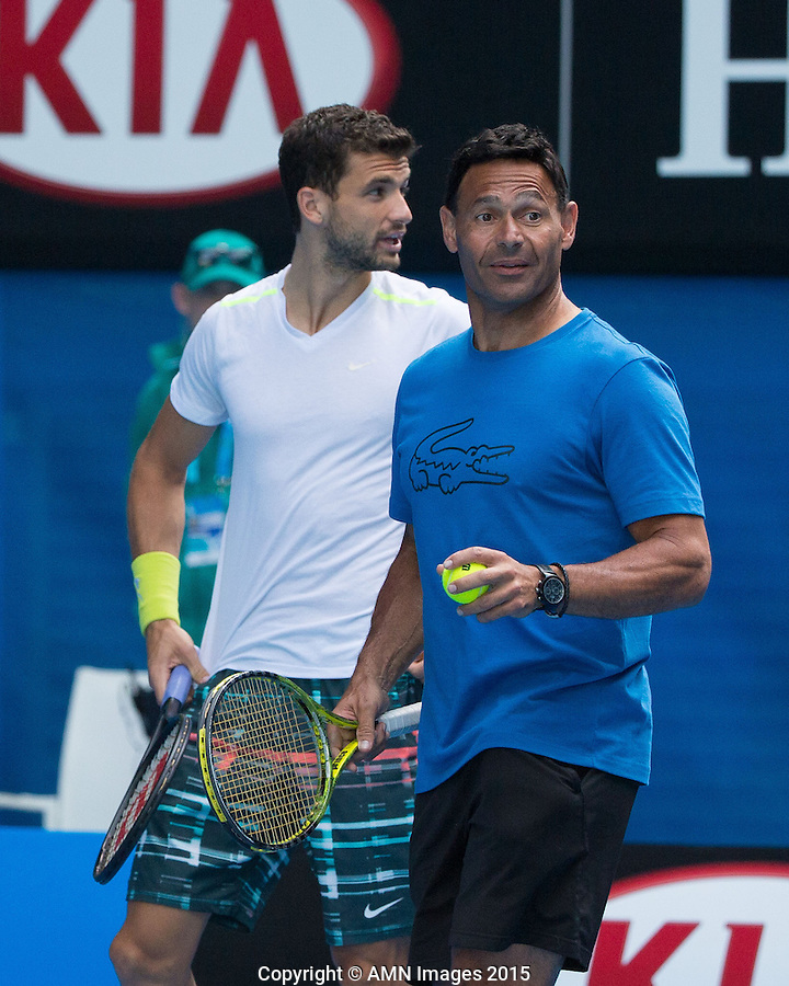 Roger Rasheed and Grigor Dimitrov (BUL)<br /> <br /> Tennis - Australian Open 2015 - Grand Slam -  Melbourne Park - Melbourne - Victoria - Australia  - 25 January 2015. <br /> &copy; AMN IMAGES