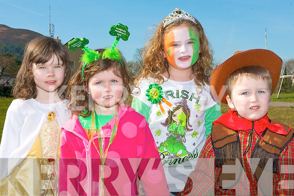 Guaranteed Irish: Enjoying a good time at the Glenbeigh St Patrick's day parade l-r: Danielle Griffin, Caoimhe Sweeney, Abbie Sheahan and Aaron Griffin.