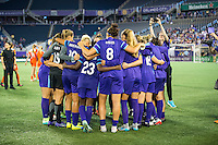 Orlando, Florida - Saturday, April 23, 2016: Orlando Pride huddle following the 3-1 victory during an NWSL match between Orlando Pride and Houston Dash at the Orlando Citrus Bowl.