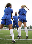 29 July 2006: Charmaine Hooper (CAN) (center) warms up with Aysha Jamani (CAN) (l) and Amanda Cicchini (CAN) (r). The Canada Women's National Team trained at SAS Stadium in Cary, North Carolina, in preparation for an International Friendly match against the United States to be played on Sunday, July 30.