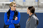 Costa Mesa, CA 02/20/16 - Duke Head Coach Kerstin Kemal (l) and USC Head Coach Lindsey Munday (r) meet before the start of the Duke-USC game at LeBard Stadium for the inaugural Orange County Winter Invitational organized by the Orange County Chapter of U.S. Lactosse.