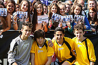 London, UK on Sunday 31st August, 2014. The Anyones during the Soccer Six charity celebrity football tournament at Mile End Stadium, London.